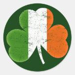 Ireland Flag Shamrock Round Sticker
