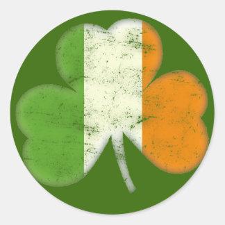 Ireland Flag Shamrock Round Stickers