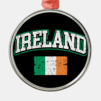 Ireland Flag Silver-Colored Round Ornament