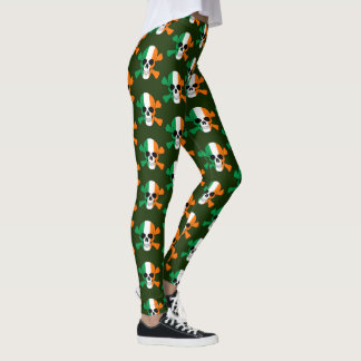 Ireland Flag Skull And Crossbones Leggings