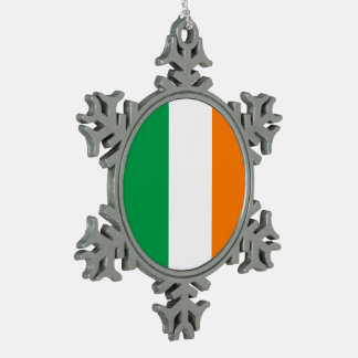 Ireland Flag Snowflake Pewter Christmas Ornament
