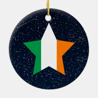 Ireland Flag Star In Space Round Ceramic Ornament