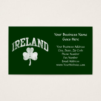Ireland, Grunge Style Shamrock Varsity Business Card
