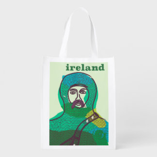 Ireland knight vintage travel poster print reusable grocery bag