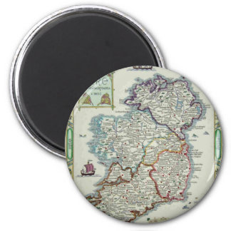 Ireland Map - Irish Eire Erin Historic Map 2 Inch Round Magnet