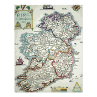 Ireland Map - Irish Eire Erin Historic Map Letterhead