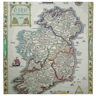 Ireland Map - Irish Eire Erin Historic Map Napkin