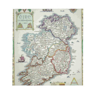 Ireland Map - Irish Eire Erin Historic Map Notepad