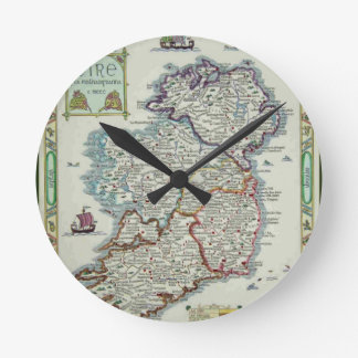 Ireland Map - Irish Eire Erin Historic Map Round Clock