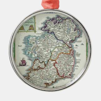 Ireland Map - Irish Eire Erin Historic Map Silver-Colored Round Ornament