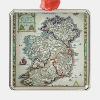 Ireland Map - Irish Eire Erin Historic Map Silver-Colored Square Ornament