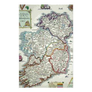 Ireland Map - Irish Eire Erin Historic Map Stationery