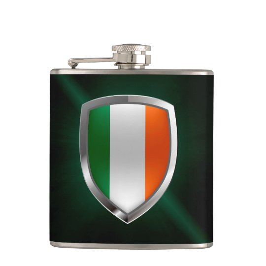 Ireland Metallic Emblem Hip Flask