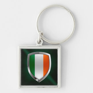 Ireland Metallic Emblem Silver-Colored Square Keychain