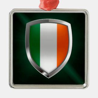 Ireland Metallic Emblem Silver-Colored Square Ornament