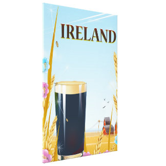 Ireland pint landscape travel poster canvas print