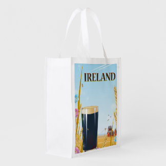 Ireland pint landscape travel poster reusable grocery bag