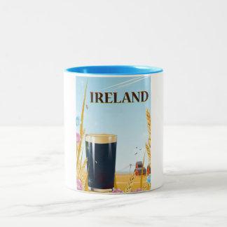 Ireland pint landscape travel poster Two-Tone coffee mug