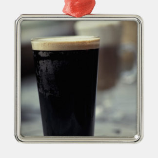 Ireland. Pint of stout. Silver-Colored Square Ornament