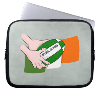 Ireland Rugby Team Supporters Flag With Ball Computer Sleeve