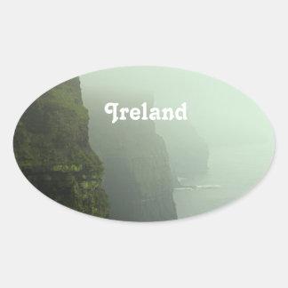 Ireland Sea Cliffs Oval Sticker