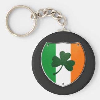 Ireland Shamrock Shield Keychain