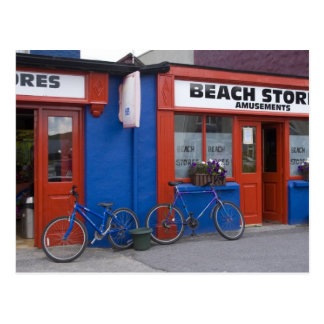 Ireland, Strandhill. Storefronts with bicycles Postcard