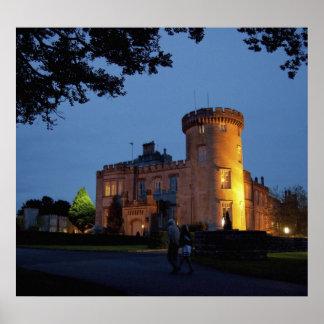 Ireland, the Dromoland Castle lit at dusk, Poster