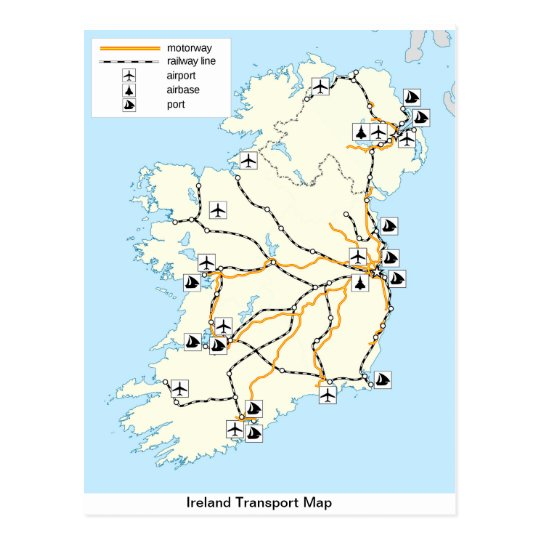 Ireland Transport Map,  Irish postcard. Postcard