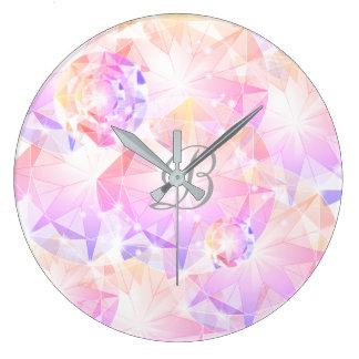 Iridescence Pink Lavender Compass Gemstone Rhinest Large Clock