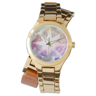 Iridescence Pink Lavender Compass Rhinestone Watch