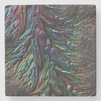 Iridescent 3D texture abstract art rainbow coaster