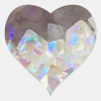 Iridescent Aura Crystals Heart Sticker