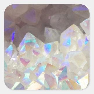 Iridescent Aura Crystals Square Sticker