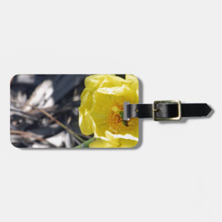 iridescent bee on nopales flower luggage tag