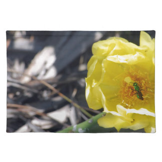iridescent bee on nopales flower placemat