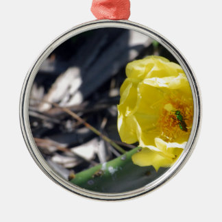 iridescent bee on nopales flower Silver-Colored round ornament