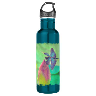 Iridescent Blue Dragonfly on Waterlily 710 Ml Water Bottle