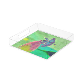 Iridescent Blue Dragonfly on Waterlily Acrylic Tray