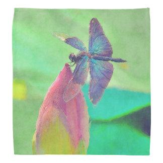 Iridescent Blue Dragonfly on Waterlily Bandana