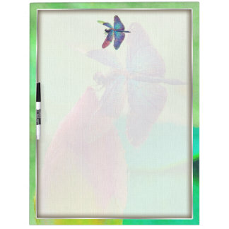 Iridescent Blue Dragonfly on Waterlily Dry Erase Board