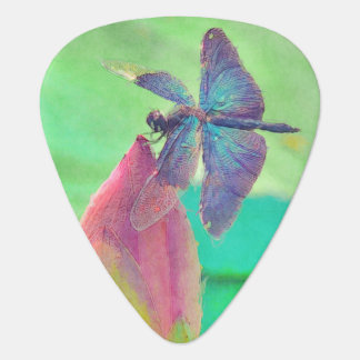 Iridescent Blue Dragonfly on Waterlily Guitar Pick
