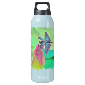 Iridescent Blue Dragonfly on Waterlily Insulated Water Bottle