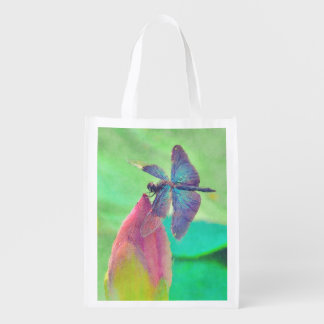 Iridescent Blue Dragonfly on Waterlily Market Tote