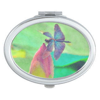Iridescent Blue Dragonfly on Waterlily Mirror For Makeup