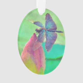 Iridescent Blue Dragonfly on Waterlily Ornament