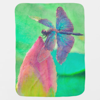 Iridescent Blue Dragonfly on Waterlily Swaddle Blankets