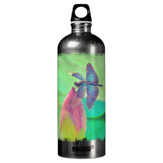Iridescent Blue Dragonfly on Waterlily Water Bottle