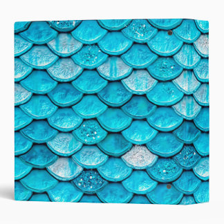 Iridescent Blue Glitter Shiny Mermaid Fish Scales 3 Ring Binders