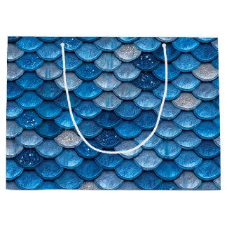 Iridescent Blue Glitter Shiny Mermaid Fish Scales Large Gift Bag